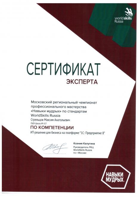 Эксперт Московского регионального чемпионата профессионального мастерства
